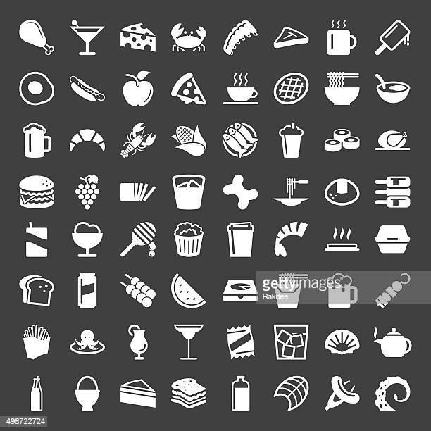 Essen und Trinken-Icons-weiße Serie 64