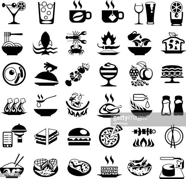 food and drink black icons - chicken pie stock illustrations, clip art, cartoons, & icons