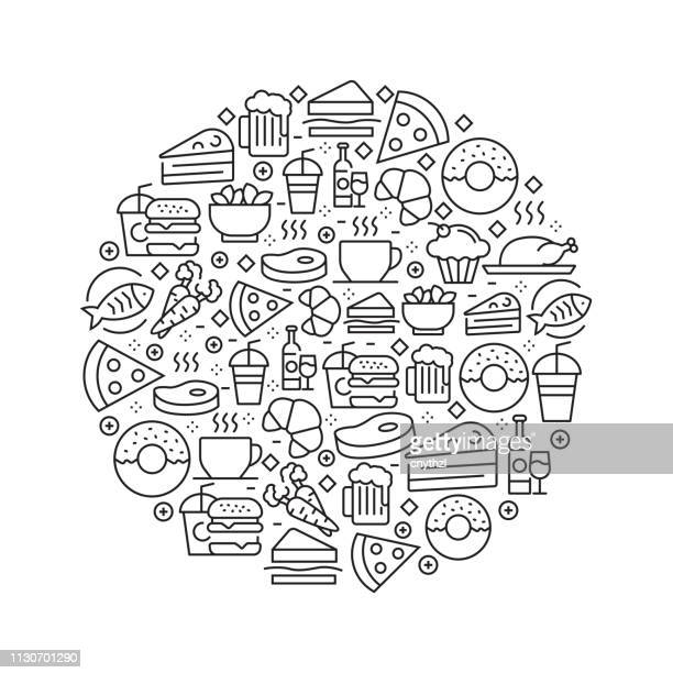 food and drink concept - black and white line icons, arranged in circle - menu background stock illustrations