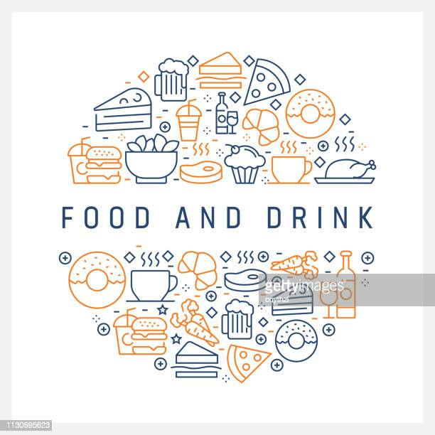 Food and Drink Concept - Colorful Line Icons, Arranged in Circle