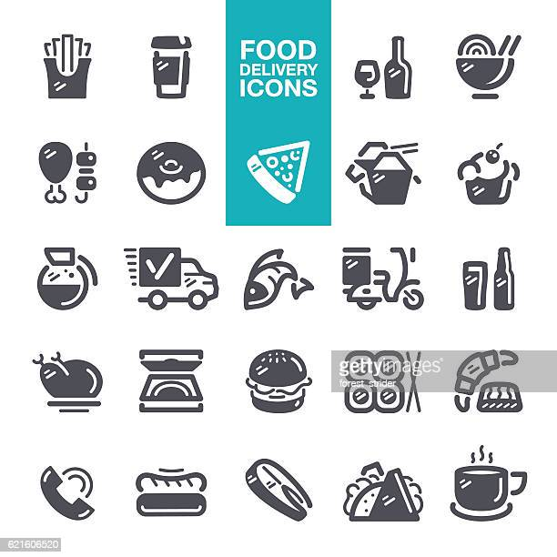 food and drink delivery icons - ローストビーフ点のイラスト素材/クリップアート素材/マンガ素材/アイコン素材