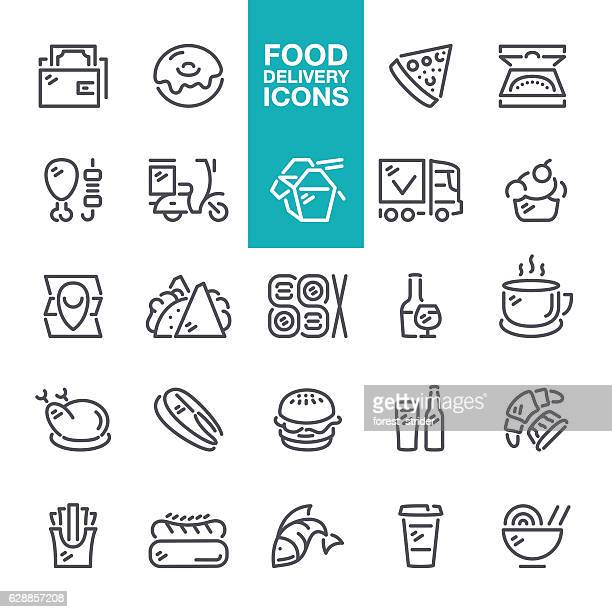Food and Drink delivery line icons
