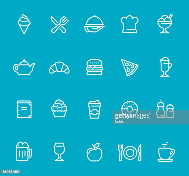 Food and Drink Establishment - line icon set