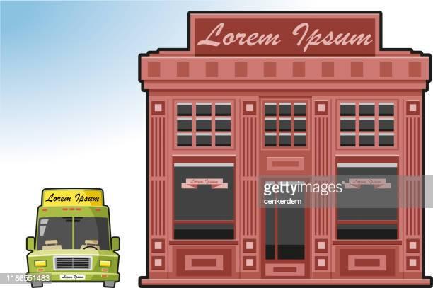ilustrações, clipart, desenhos animados e ícones de exterior do alimento e da bebida - lorem ipsum