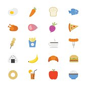 Food and Drink Flat Icons color