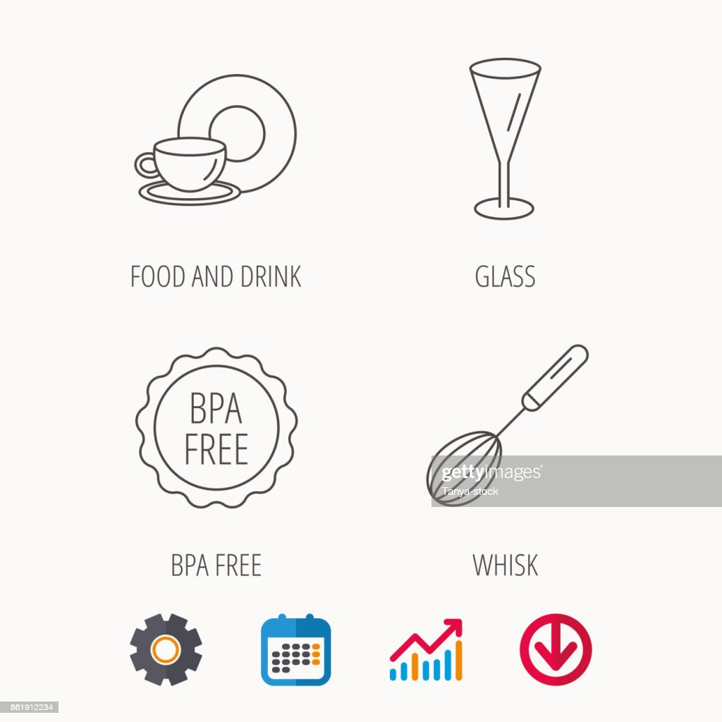 Food and drink, glass and whisk icons.