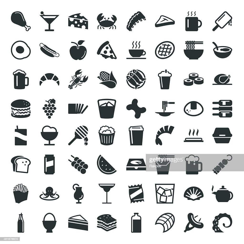 Food and Drink Icon 64 Icons : stock illustration