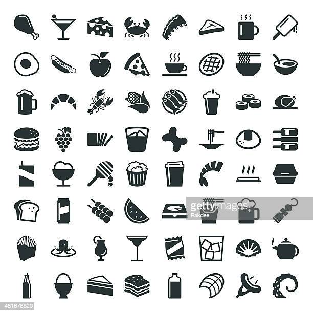 food and drink icon 64 icons - container stock illustrations