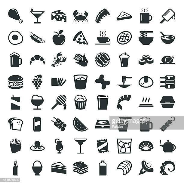illustrations, cliparts, dessins animés et icônes de nourriture et boisson icon de 64 icônes - crabe