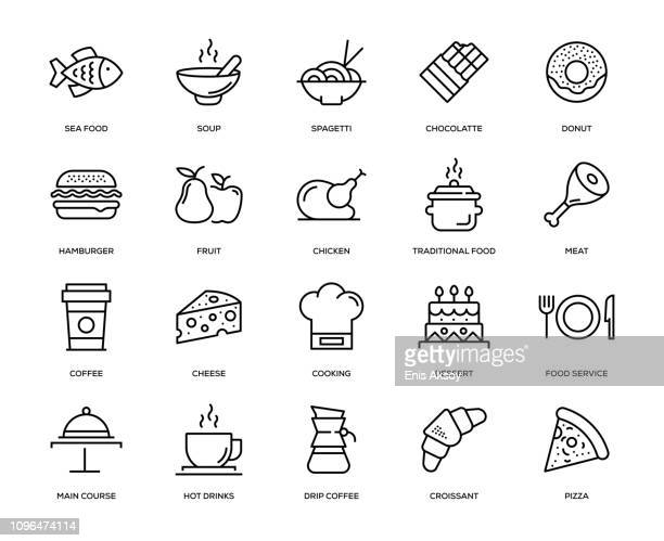 ilustraciones, imágenes clip art, dibujos animados e iconos de stock de conjunto de iconos de la bebida y la alimentación - industria alimentaria
