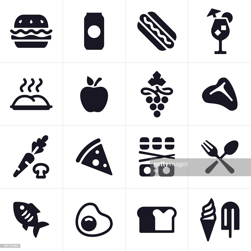Food and Drink Icons and Symbols : stock illustration