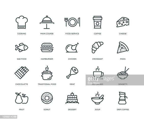 illustrazioni stock, clip art, cartoni animati e icone di tendenza di food and drink icons - line series - semplicità