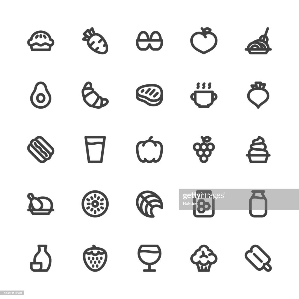 Food and Drink Icons Set 2 - Bold Line Series : stock illustration