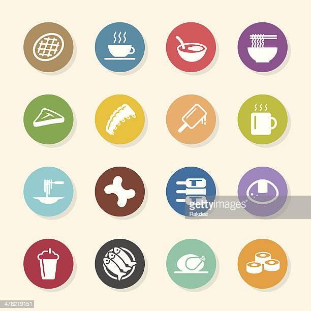 food and drink icons set 2 - color circle series - t bone steak stock illustrations, clip art, cartoons, & icons