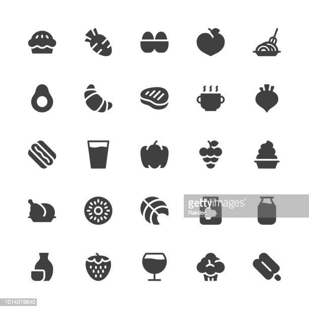 food and drink icons set 2 - gray series - chicken pie stock illustrations, clip art, cartoons, & icons