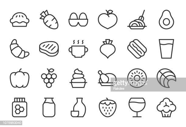 food and drink icons set 2 - light line series - chicken pie stock illustrations, clip art, cartoons, & icons