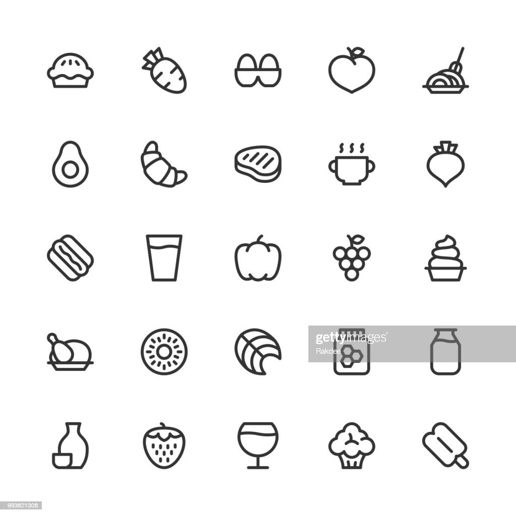 Food and Drink Icons Set 2 - Line Series : stock illustration