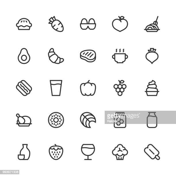 food and drink icons set 2 - line series - chicken pie stock illustrations, clip art, cartoons, & icons