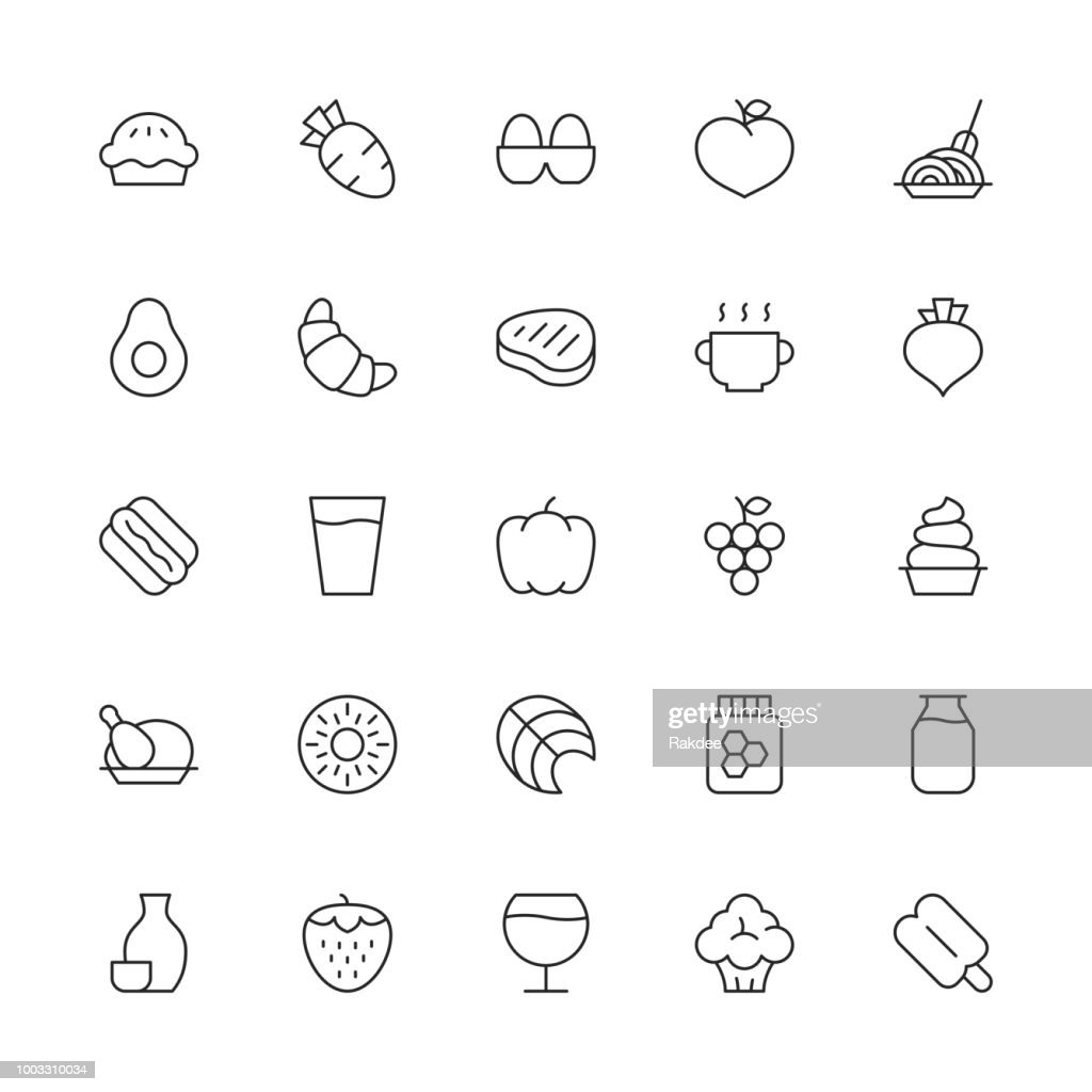Food and Drink Icons Set 2 - Thin Line Series : stock illustration