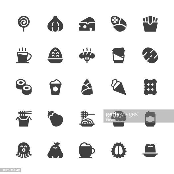 food and drink icons set 3 - gray series - gelatin dessert stock illustrations, clip art, cartoons, & icons