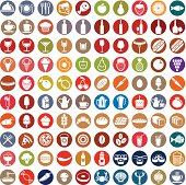 100 food and drink icons set.