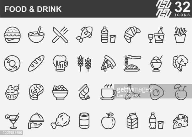 food and drink line icons - speisen stock-grafiken, -clipart, -cartoons und -symbole