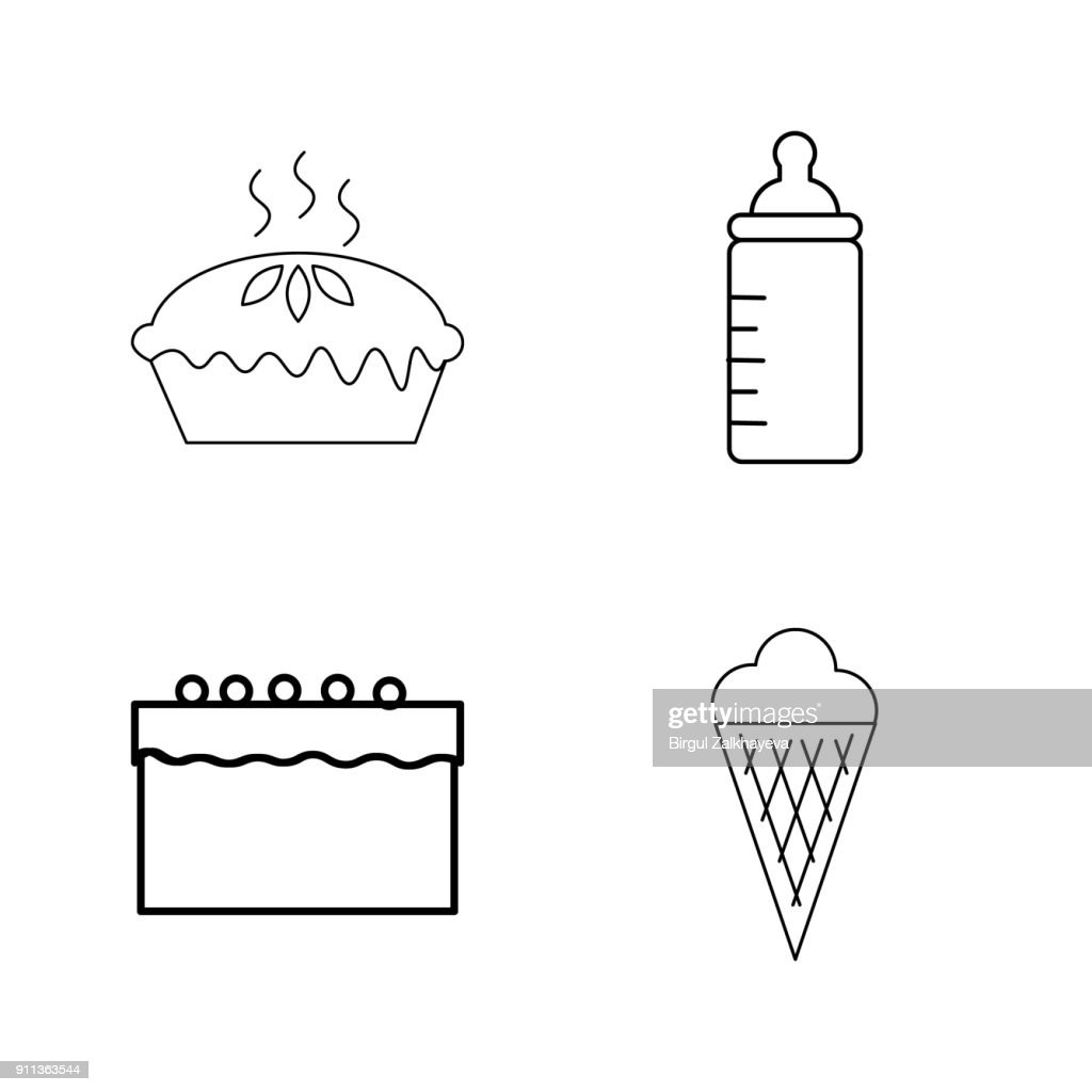 Food And Drink linear icon set
