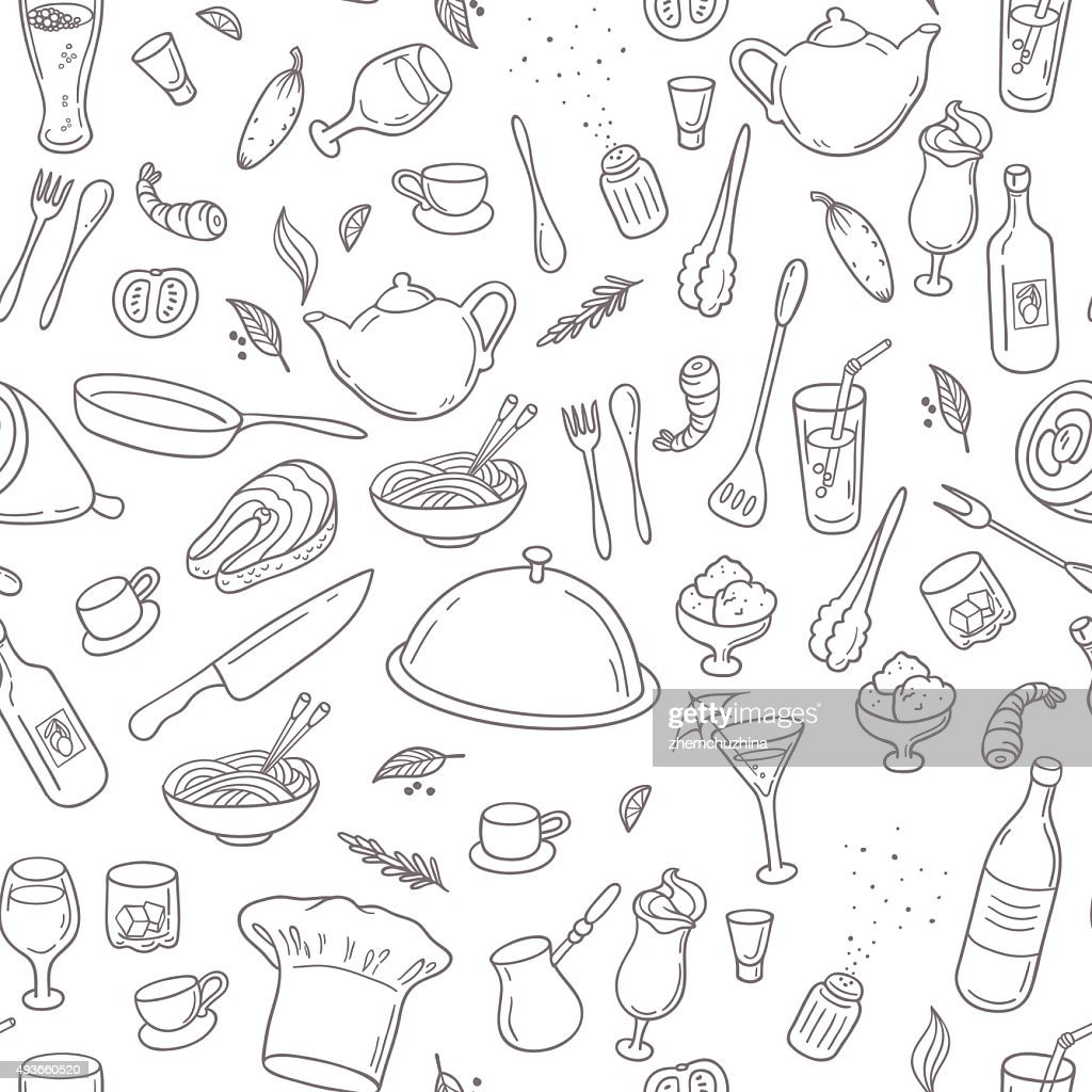 Food and drink outline seamless pattern. Hand drawn kitchen background