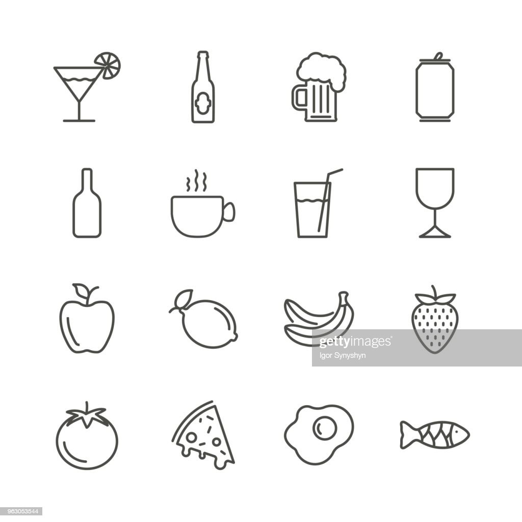 Food and drink set icon vector. Outline restaurant lunch collection. Trendy flat sign design. Thin linear graphic pictogram isolated for web site, mobile application. Logo illustration. Eps10