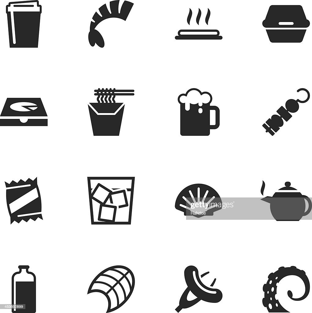 Food and Drink Silhouette Icons | Set 4 : stock illustration