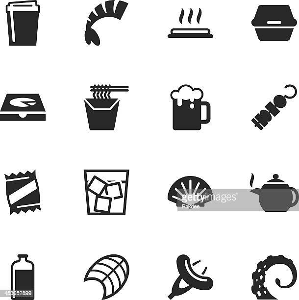 stockillustraties, clipart, cartoons en iconen met food and drink silhouette icons | set 4 - food and drink