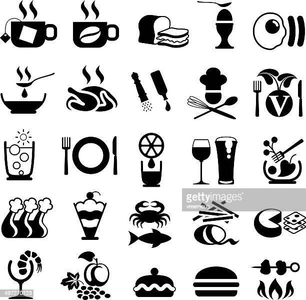 ilustraciones, imágenes clip art, dibujos animados e iconos de stock de comida y bebida símbolos - pollo asado