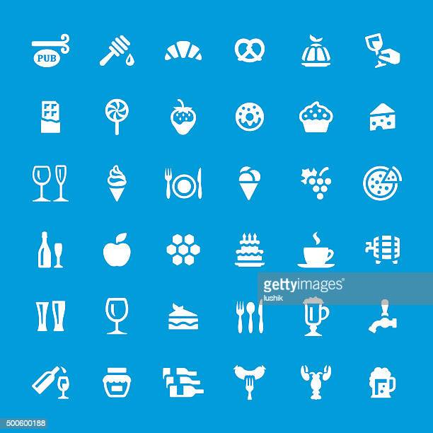 food and drink vector icons set - whipped cream stock illustrations, clip art, cartoons, & icons