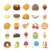 Food and Drinks Flat Icons Set