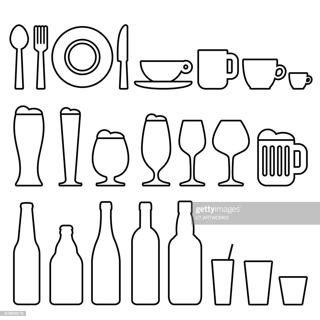 Food and drinks icons : stock illustration