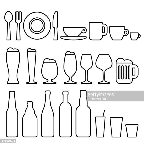 food and drinks icons - juice drink stock illustrations, clip art, cartoons, & icons