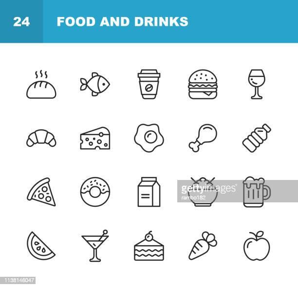 ilustrações, clipart, desenhos animados e ícones de ícones da linha do alimento e das bebidas. traçado editável. pixel perfeito. para mobile e web. contém ícones como pão, vinho, hambúrguer, leite, cenoura. - bolinho