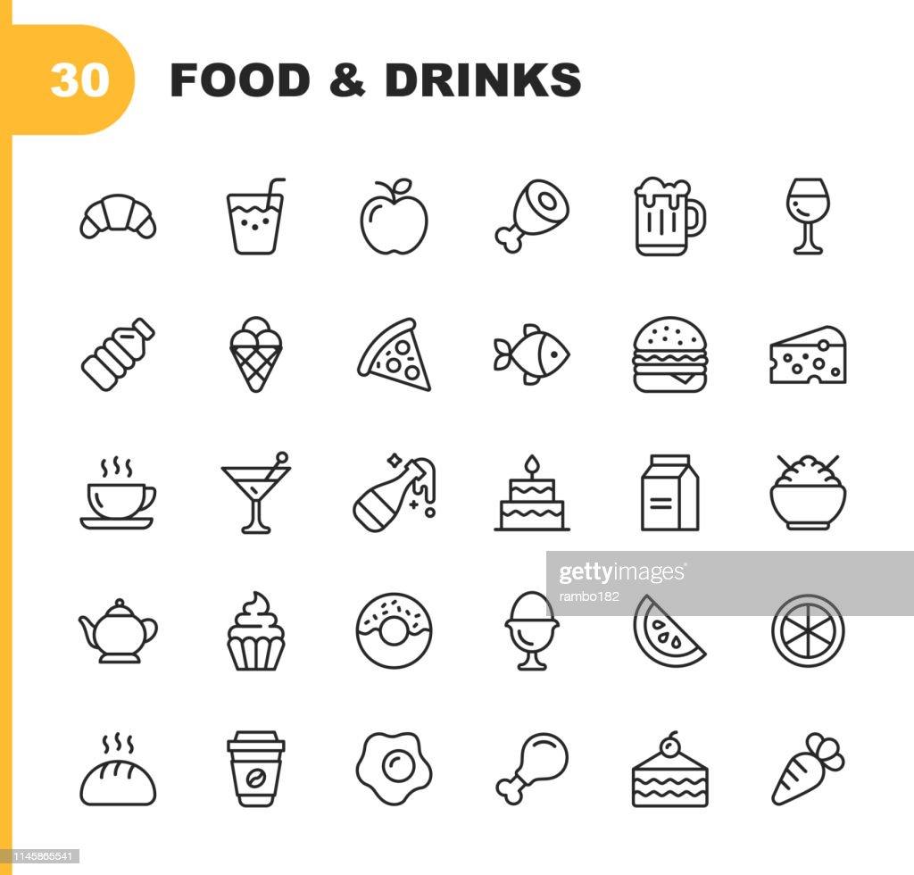 Icone della linea di cibi e bevande. Tratto modificabile. Pixel Perfetto. Per dispositivi mobili e Web. Contiene icone come Pane, Vino, Hamburger, Latte, Carota, Frutta, Verdura. : Illustrazione stock