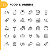 Food and Drinks Line Icons. Editable Stroke. Pixel Perfect. For Mobile and Web. Contains such icons as Bread, Wine, Hamburger, Milk, Carrot, Fruit, Vegetable.
