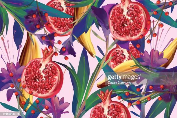 illustrazioni stock, clip art, cartoni animati e icone di tendenza di motivo di cibo e fiori - armonia