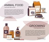 Food and grooming for pets.  Accessories shop. Web banner