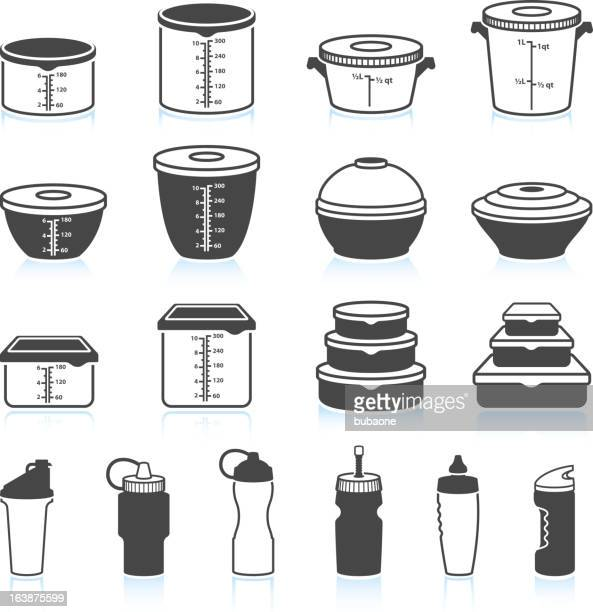 Food and Liquid Containers black & white vector icon set