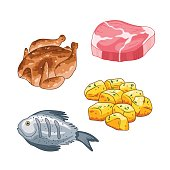 Food and meal vector set in cartoon style