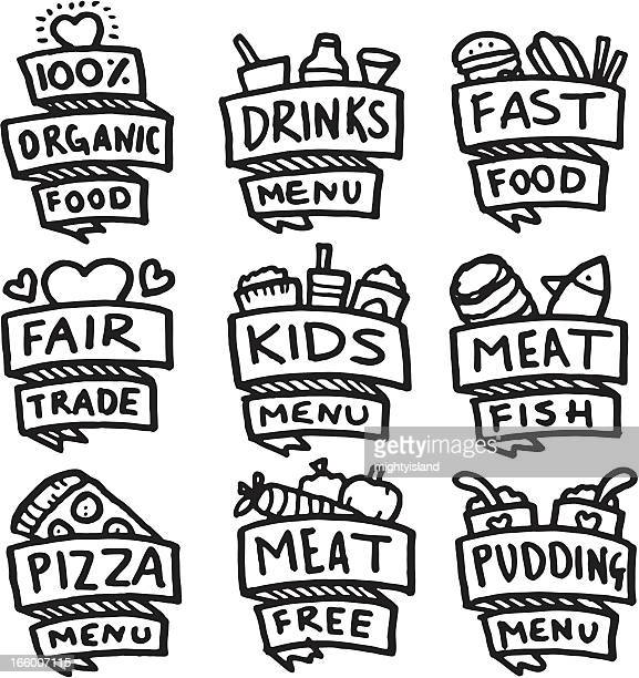 Food and menu hand drawn icon set