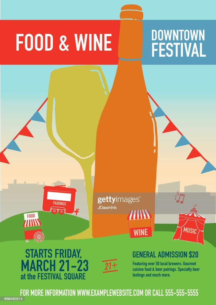 Food And Wine Festival Poster Design Template Vector Art