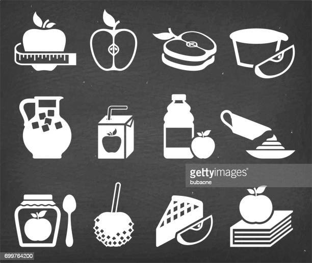 Food apple and backing vector icon set