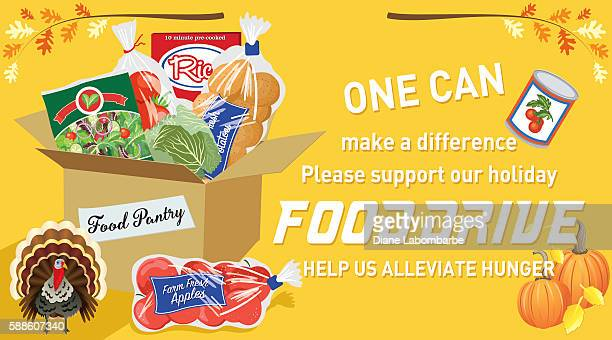 food bank donation concept banner - food drive stock illustrations