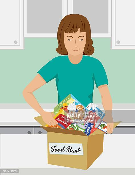 food bank donation concept - cabinet stock illustrations, clip art, cartoons, & icons