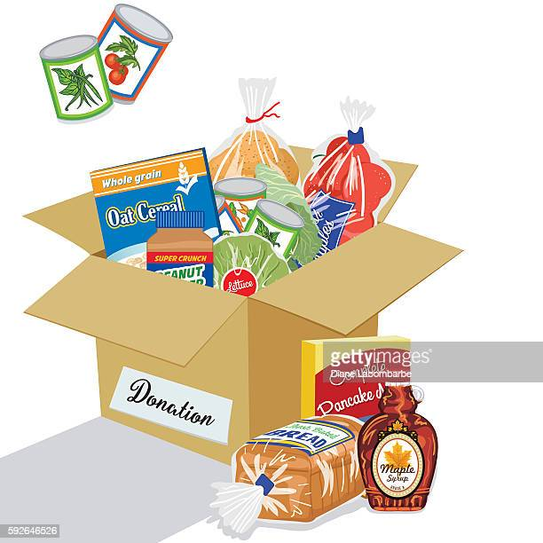food bank donation concept - food drive stock illustrations