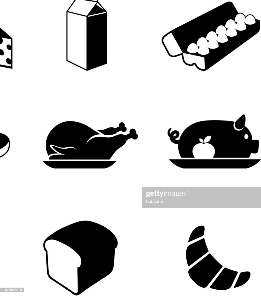 food black & white royalty free vector icon set : stock illustration